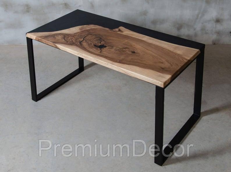 Стол из массива дерева с эпоксидной смолой река лофт мебель дуб ясень орех тополь