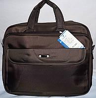 Текстильная каштановая сумка для ноутбука на 3 отделения на молнии 45*36 см