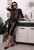 Ультрамодный кожаный костюм с юбкой Polin (42–52р) в расцветках, фото 1