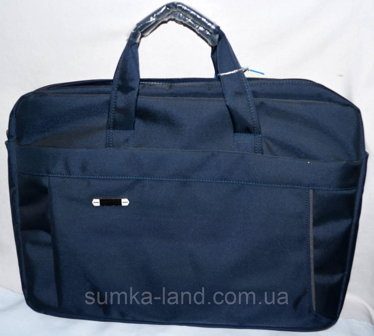 Текстильная синяя сумка для ноутбука на змейке 43*32 см