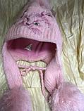 Рожева шапка - вушанка з довгими вушками, фото 2