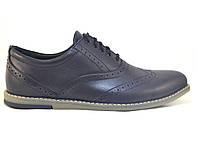 Туфли мужские комфорт из натуральной кожи синие броги на каждый день Rosso Avangard BS Felicete Cardinall Blu, фото 1