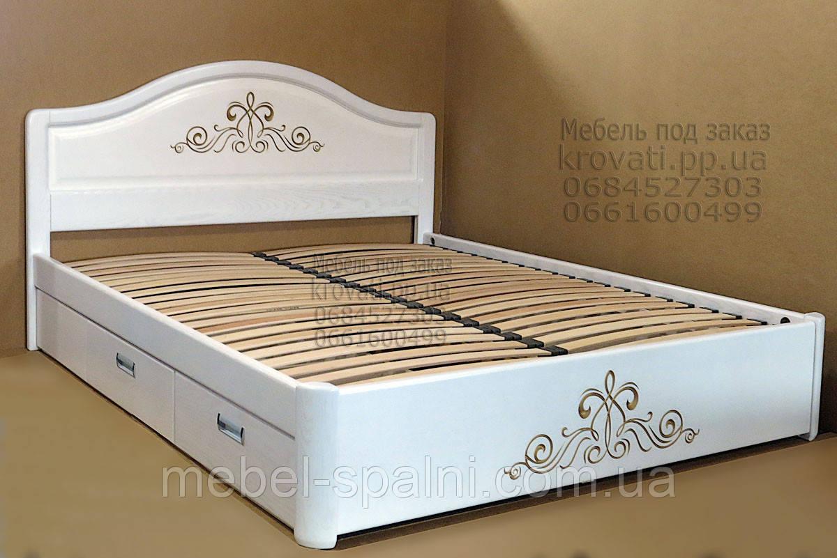"""Большая кровать 2х спальная. Кровать двуспальная деревянная с ящиками """"Виктория"""" kr.vt6.3"""