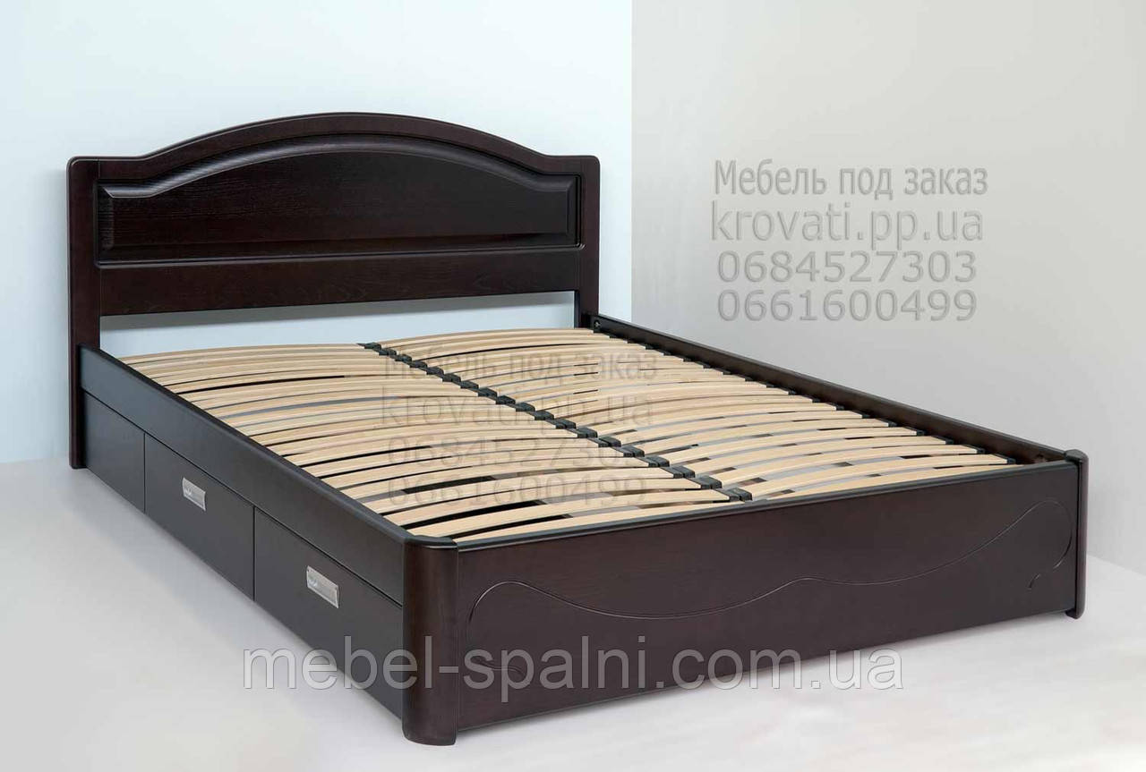 """Большая кровать 2х спальная. Кровать двуспальная деревянная с ящиками """"Анжела"""" kr.ag6.1"""