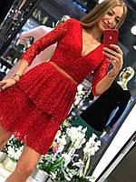 Праздничное гипюровое красное женское платье Турция