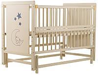 """Детская кроватка ТМ Дубик-М """"Ведмедик"""" с маятником и откидным бортиком. Цвет: слоновая кость"""