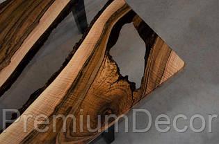 Стол из массива дерева слэба европейского ореха с эпоксидной смолой река лофт 150X70X46 см, фото 3