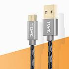 Кабель синхронизации Topk USB - MicroUSB 3A 1 м Gray (3873-10870), фото 2