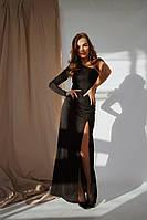 Вечернее платье в пол креп дайвинг с люрексовым напылением,  оголённым плечом и глубоким разрезом по бедру