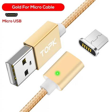 Оригінальний магнітний кабель TOPK C0121 F-Line Micro-USB 2.4 A Gold (CS0121110910), фото 2