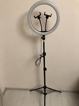 Професійна кільцева світлодіодна LED лампа 30 см 26 ват з тримачем для телефону і штативом