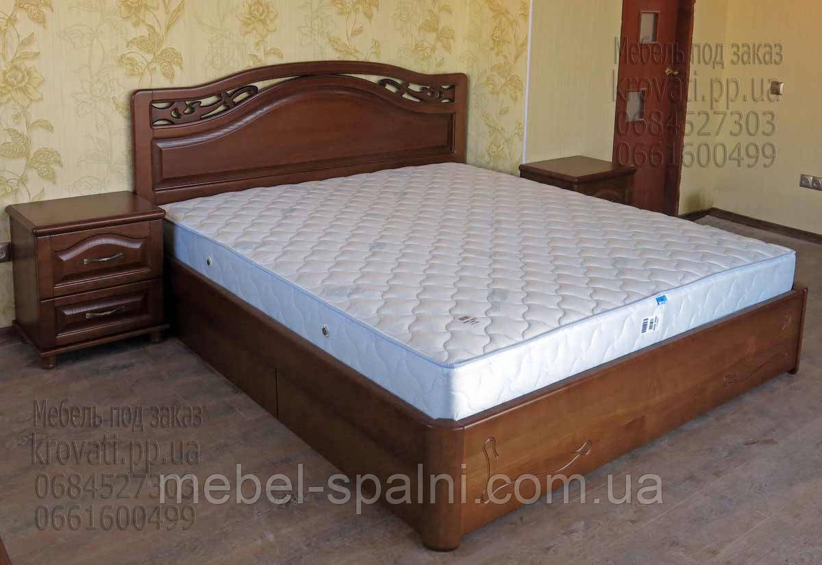 """Кровать двуспальная Днепропетровск. Кровать двуспальная деревянная с ящиками """"Марго"""" kr.mg6.2"""