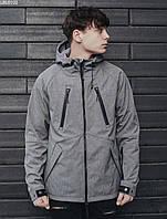 Мужская куртка легкая с капюшоном Staff soft shell gray ros