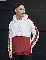 Куртка мужская с капюшоном анорак Staff hopss white & red