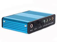 Внешняя звуковая карта USB 5.1 S/PDIF  Синий