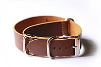 Цельный кожаный ремешок для часов Bros BRC20BR-01 20 мм (Италия) | Коричневый