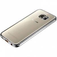 Прозрачный силиконовый чехол для Samsung A320 Galaxy A3 (2017) с глянцевой окантовкой Серебряный