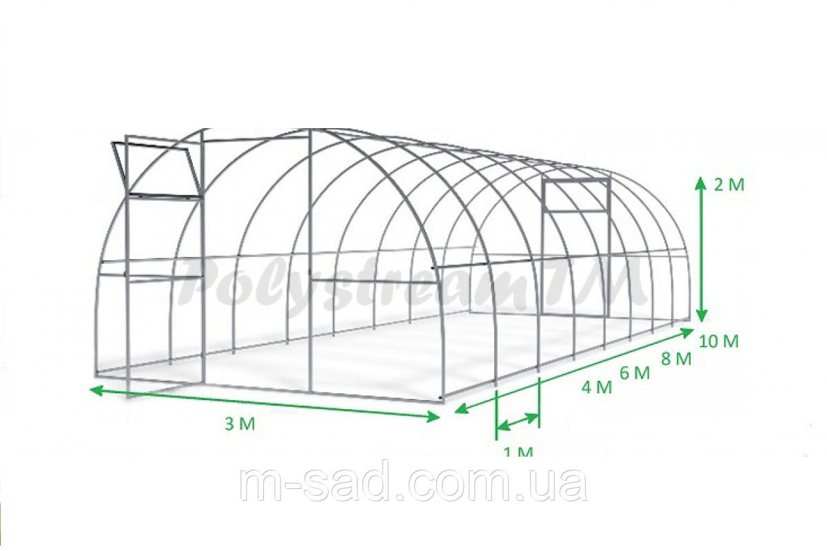 Теплица Садовод Агро 30м² (300х1000х200см) каркас под сотовый поликарбонат