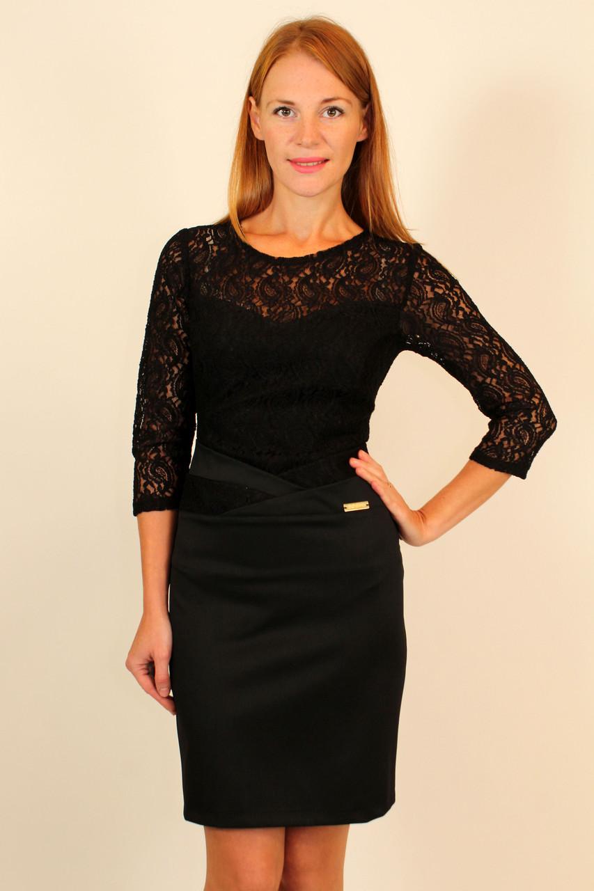 Короткое черное кружевное платье 42,44 р