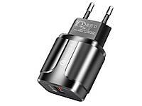 Швидка зарядка Qualcomm YKZ 18 Вт QC 3.0 4.0 USB  Чорний