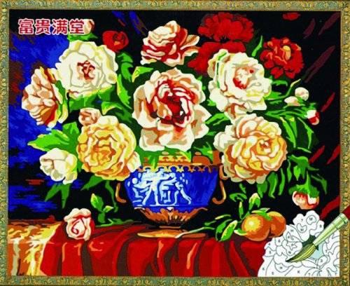 Раскраски на холсте Разноцветные чайные розы