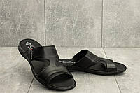 Мужские шлепанцы кожаные летние черные Yavgor ХC