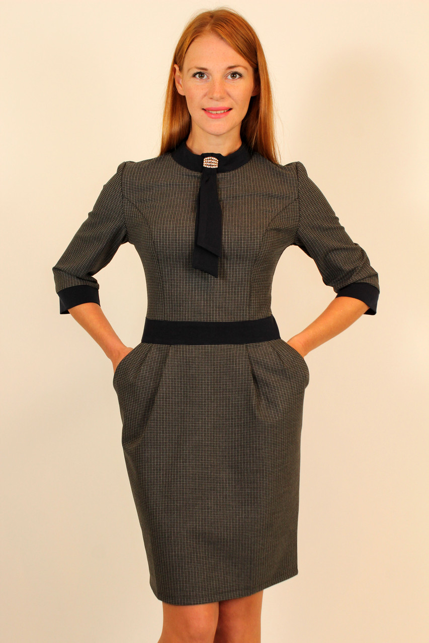 Стильное платье футляр с галстуком 42-48 р