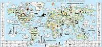 Обои-раскраски Детская карта мира цветная 60*130 см C-130002
