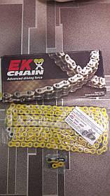 Мото цепь  520 EK CHAIN EK 520MVXZ2 CY  ЖЕЛТАЯ  размер цепи 520  на 120 звеньев