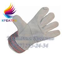 Перчатки комбинированные х/б + кожа (спилок)