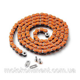Мото цепь  520 EK CHAIN 520MVXZ2 CO - 130 Оранжевая  размер цепи 520  на 130 звеньев