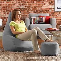 Кресло мешок пуфик груша серое XL 120х85 см