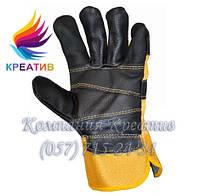 Перчатки комбинированные х/б + кожа (хром) (от 50 шт.)