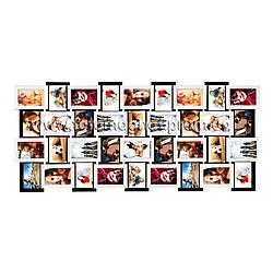 """Большая фоторамка - коллаж на 36 фото """"Белое и черное"""" — Мега мультирамка"""