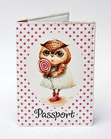 """Обложка на паспорт """"Сова"""" на бело-розовом фоне"""