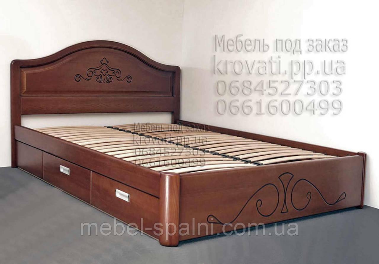"""Двуспальная кровать с ящиками. Кровать деревянная белая """"Виктория"""" kr.vt6.2"""