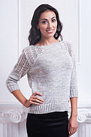 Качественный молодежный свитер серого цвета красивой вязки