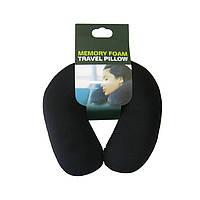 Дорожная подушка под шею в самолет Memory Foam Travel Pillow - Чёрная