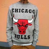 Свитшот мужской Чикаго Буллс Chivago Bulls серый/красный/черный