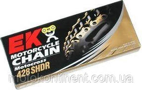 Мото цепь  428 EK CHAIN 428SHDR - 130 звеньев золотая кросс размер цепи 428 для малой кубатуры