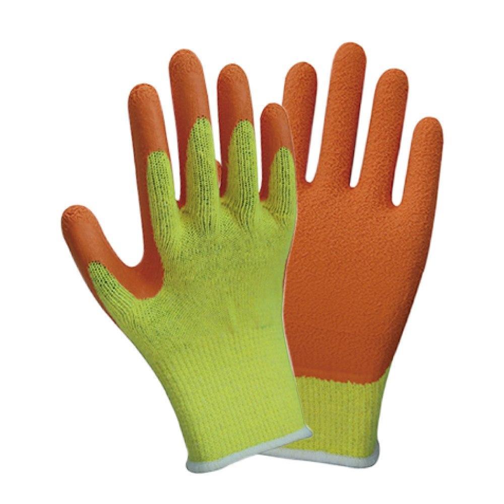 Перчатки трикотажные с частичным латексным покрытием кринкл р9 эконом (оранж манжет) SIGMA (9445411)
