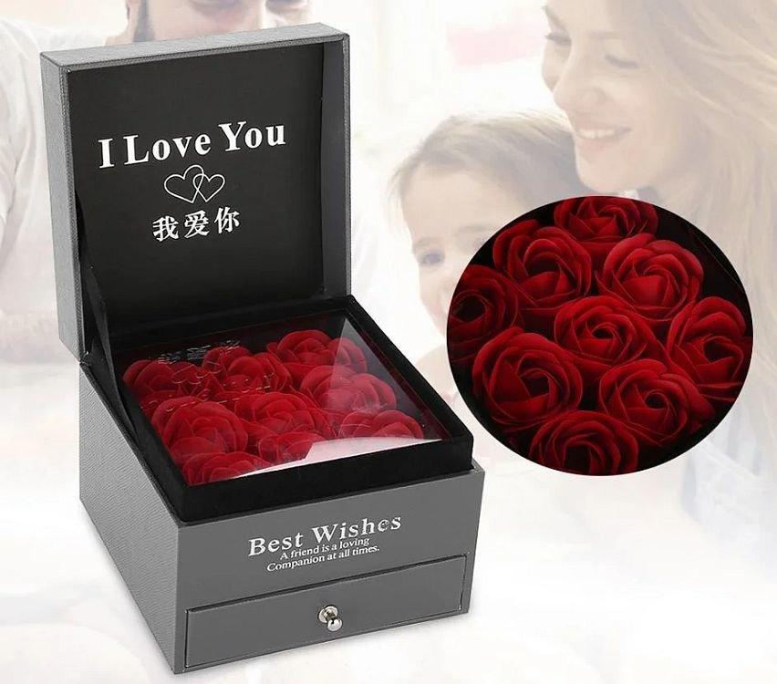 Подарункова коробка з трояндами з мила Best Wishes Red Rose