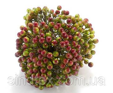 ОПТ Калина лаковая для рукоделия  Ø7-8мм,  500 ягодок Цвет - Зелёный с бордовым бочком (сп7нг-3105)