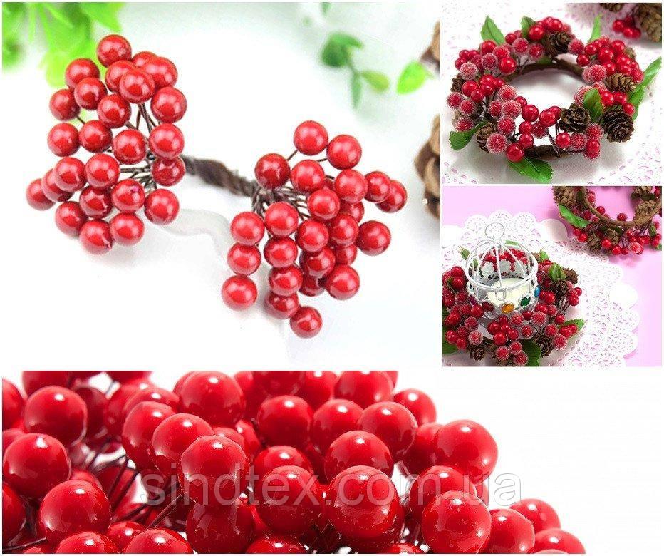 (Пучок) Калина лаковая для рукоделия  Ø7-8мм, 50 ягодок Цвет - Красный (сп7нг-1160)