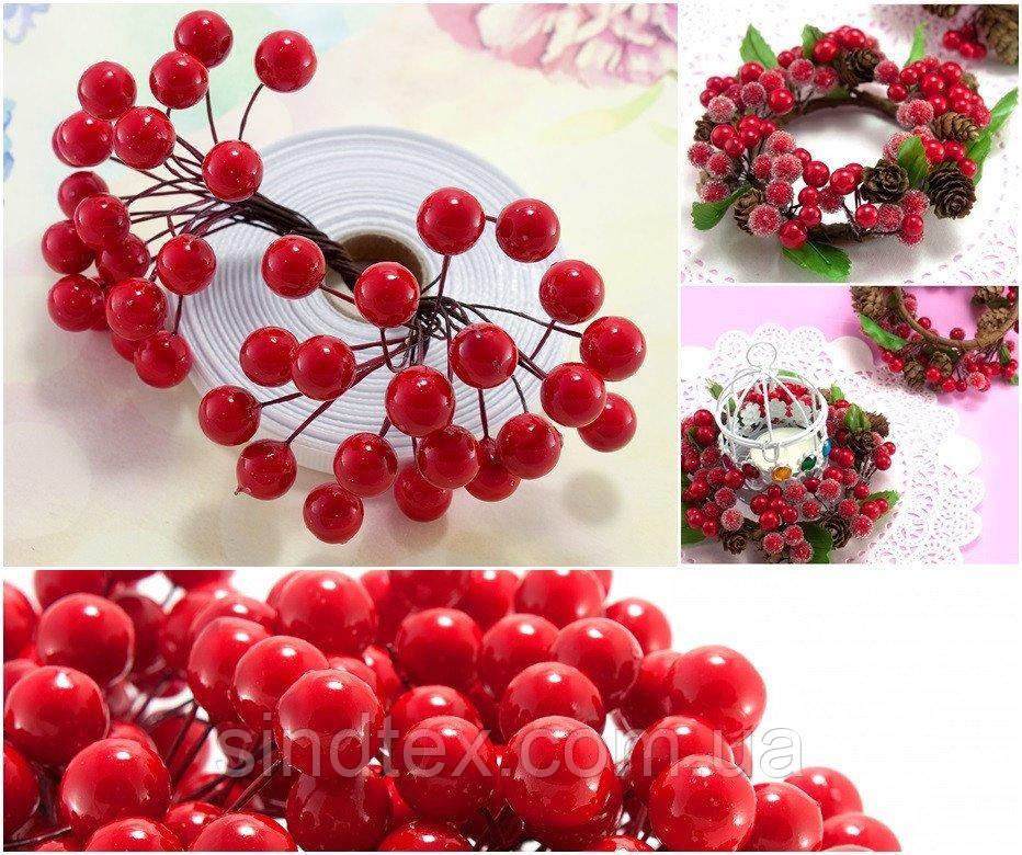 (Пучок) Калина лаковая для рукоделия  Ø12мм, 40 ягодок Цвет - Красный (сп7нг-1009)
