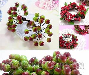 (Пучок) Калина лаковая для рукоделия  Ø12мм, 40 ягодок Цвет - Зелёный с бордовым бочком (сп7нг-4147)