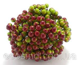 ОПТ Калина лаковая для рукоделия  Ø12мм, 400 ягодок Цвет - Зелёный с бордовым бочком (сп7нг-4191)