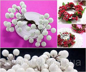 (Пучок) Калина лаковая для рукоделия  Ø12мм, 40 ягодок Цвет - Белый (сп7нг-4148)