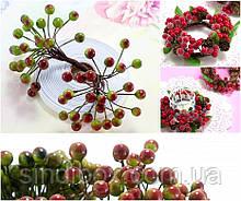 (Пучок) Калина лаковая для рукоделия  Ø7-8мм, 50 ягодок Цвет - Зелёный с бордовым бочком (сп7нг-1158)