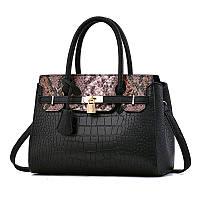 Большая женская сумка HB Kelly черная с розовым, фото 1